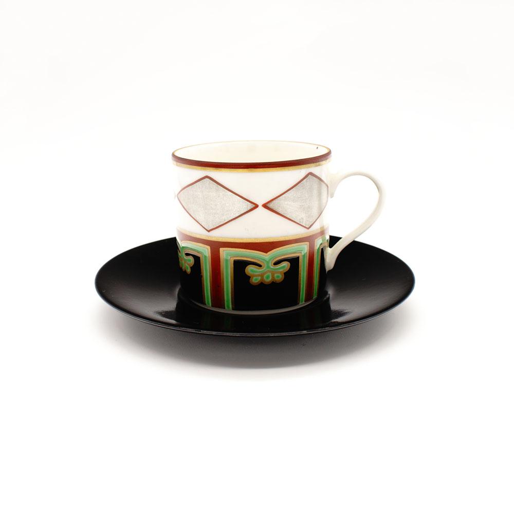 CP-1B 色絵銀菱 コーヒー碗皿