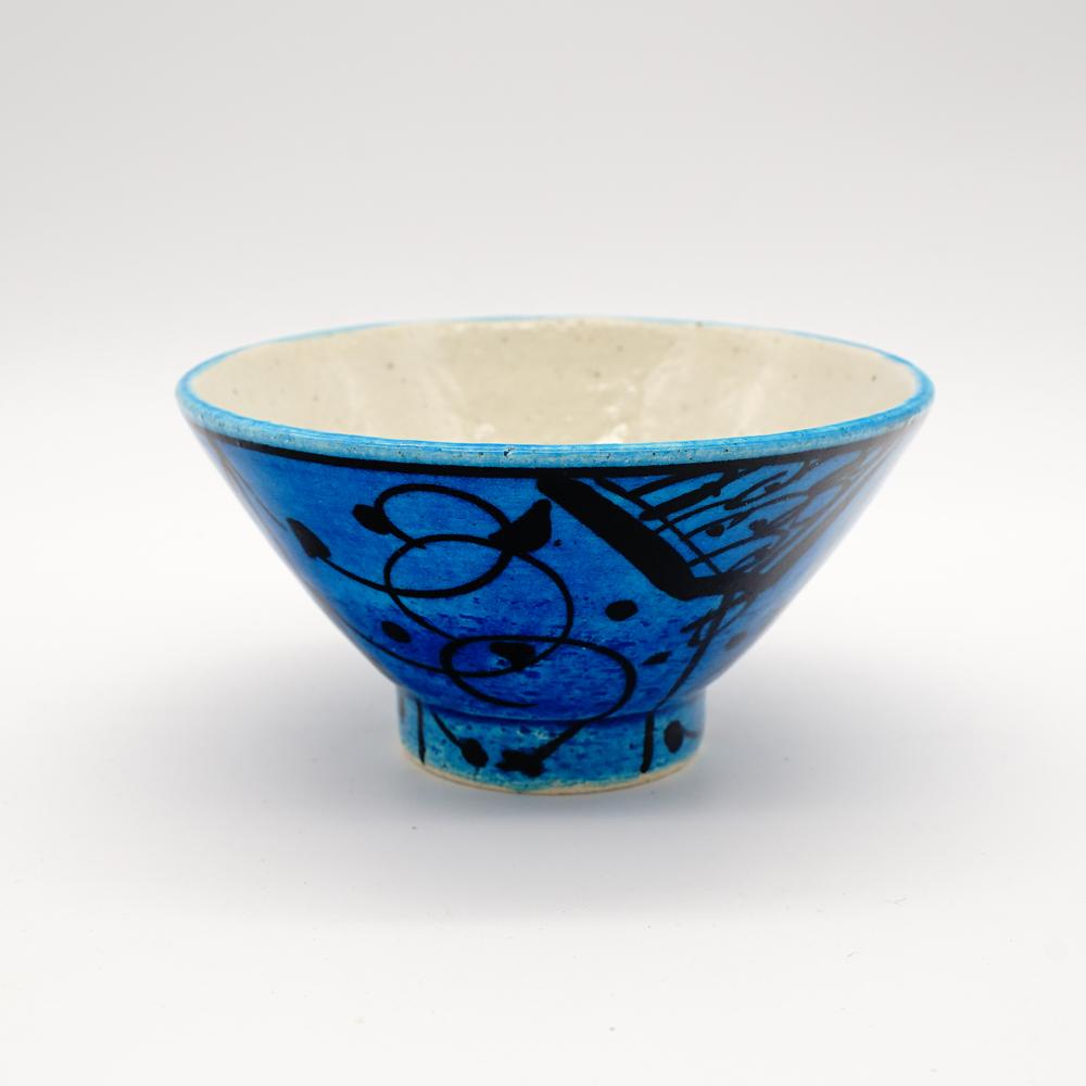 HE-9 青釉黒彩 小碗