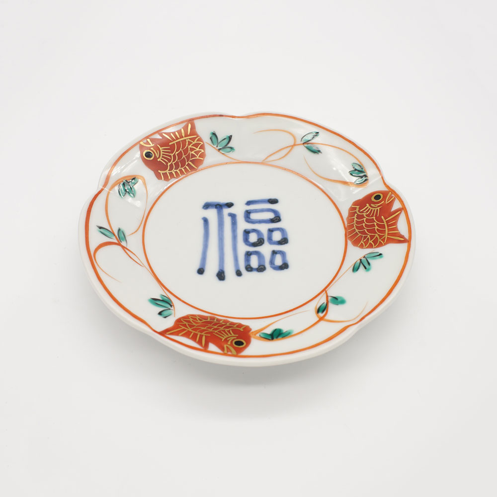 LP-12B 福字赤絵鯛文 銘々皿
