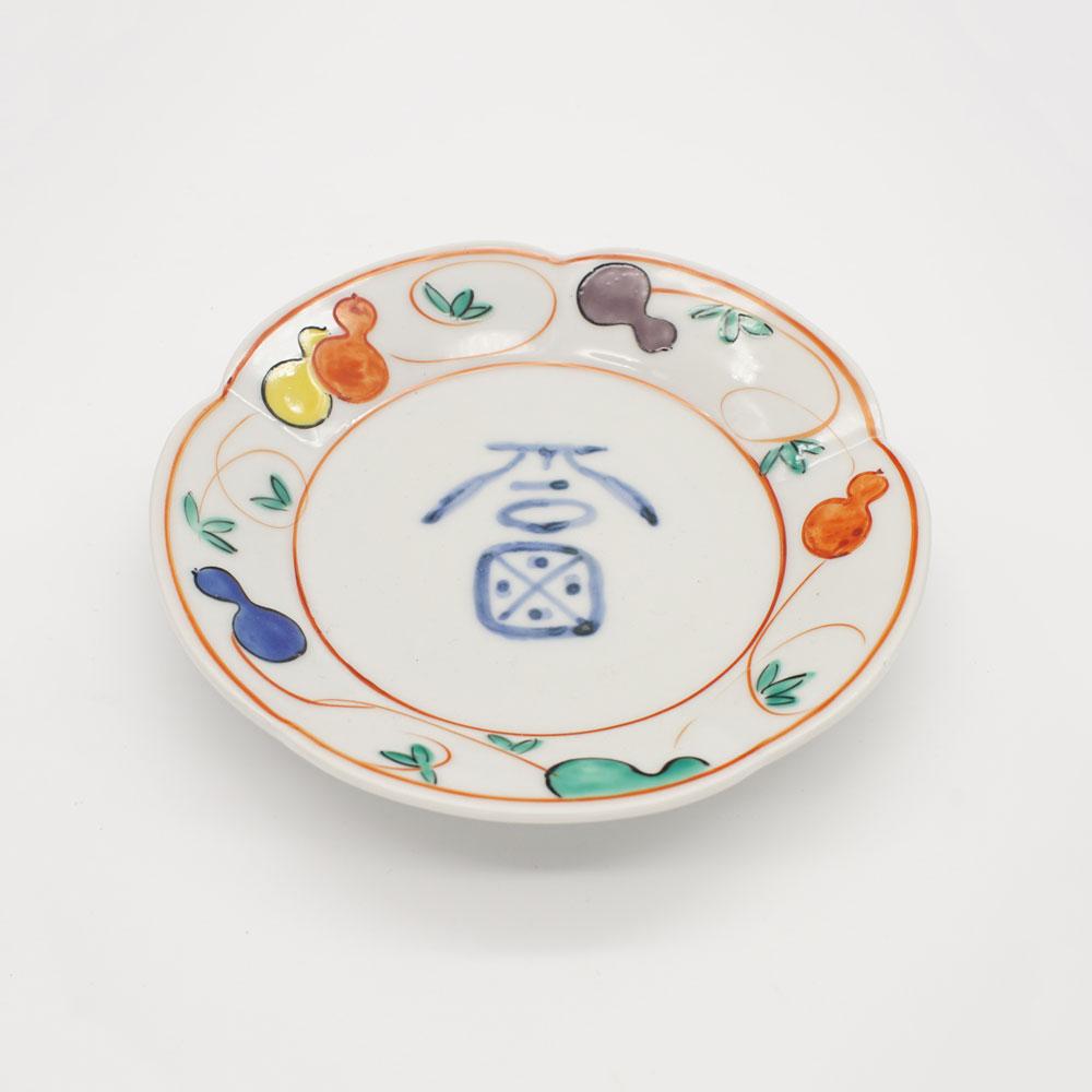 LP-12E 福字赤絵瓢文 銘々皿